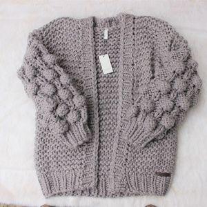 NWT Popcorn Sleeve OPEN Cardigan Sweater